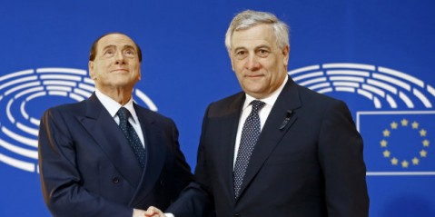 Italian former Prime Minister Berlusconi is welcomed by EU Parliament President Tajani ahead of a memorial ceremony in honour of late former German Chancellor Kohl, at the European Parliament in Strasbourg