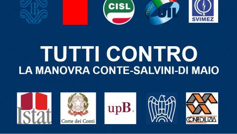 TUTTI CONTRO LA MANOVRA CONTE-SALVINI-DI MAIO (Audizioni del 9 e 12 novembre 2018 – Commissioni Bilancio Camera e Senato congiunte)