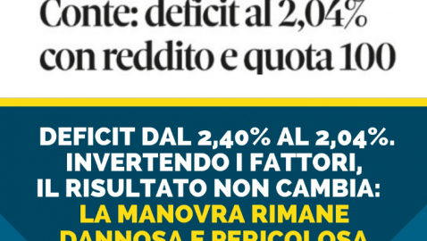 """MANOVRA: BRUNETTA, """"ALL'UE NON BASTA LA RIDUZIONE 2,04% DEFICIT, SERVONO TAGLI PER ALTRI 4 MLD EURO"""""""